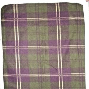 Vintage Thick Soft Plaid Purple Green Tan Blanket
